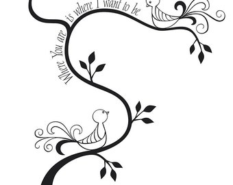 Instant Digital Download With 2 Love Birds Sitting on a Tree With Love Text Message Vector Illustration