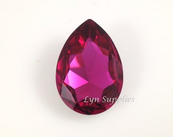 4327 FUCHSIA 30x20mm Swarovski Crystal Teardrop Pear Faceted Fancy Stone No Hole, Magenta Hot Pink