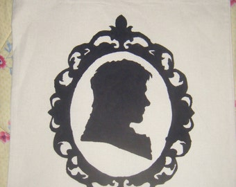 Mr Darcy silhouette tote bag