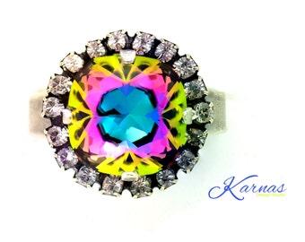 ELECTRA HALO RING 12mm Cushion Cut Adjustable Ring Made With Swarovski Elements *Pick Your Finish *Karnas Design Studio *Free Shipping*