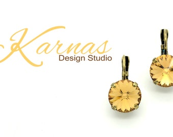 LIGHT COLORADO TOPAZ 12mm Crystal Drop Leverback Earrings Swarovski Elements *Pick Your Finish *Karnas Design Studio *Free Shipping*