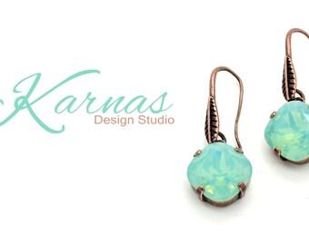 PACIFIC OPAL 12mm Crystal Cushion Cut Earrings Swarovski Elements *Pick Your Finish *Karnas Design Studio *Free Shipping