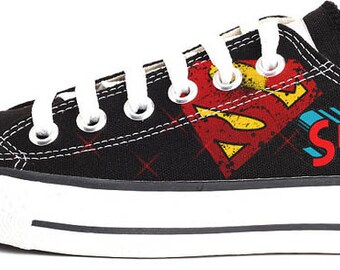 Superman Hand-painted Converse Shoes