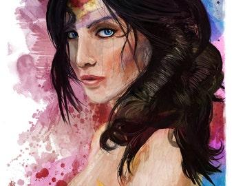 "Wonder Woman Portrait Abstract Art Print, 13"" x 19"""