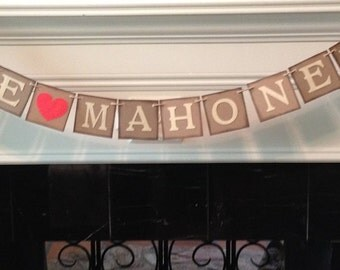 Last Name Banner, Rustic Banner, Photo Prop Banner, Christmas Garland, Holiday Decor, Christmas Card Photo Prop