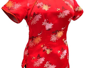 """Vintage 1960s Red Satin Brocade Chinese Cheongsam Blouse 40"""""""