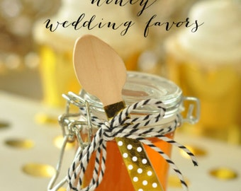 Honey Wedding Favor Jars - DIY Mini Honey Jar Favors Supplies - Mini Glass Jar for Making Honey Favors  (EB3023NP) - set of 24| EMPTY jars