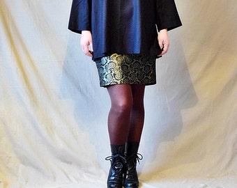 Vintage 90s raw silk minimalist tunic/blouse/top Long sleeves black oversized New/Mint Size M/L