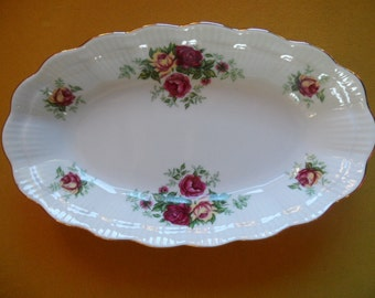 Walbrzych Cottage Rose 9 Inch Porcelain Bowl - Gilded Scalloped Edge - Raised Base Marked Bottom - Beautiful Condition - So Pretty - Sweet