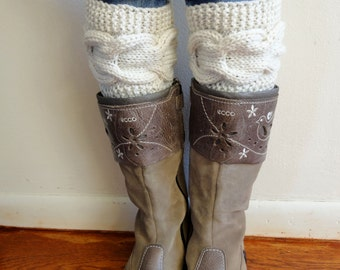 Cable Knitted Boot Cuffs. Different colors. Leg Warmers. Hand Knit Boot Toppers. Fashion Accessory for Women and Teens. Set of 2 pcs.