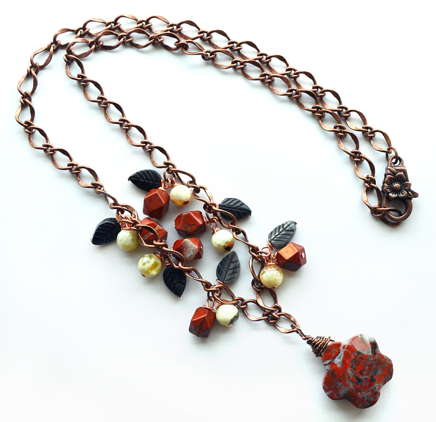 Red jasper flower necklace with dangles