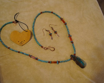 Turquoise, Aqua Terra Jasper, Carnelian and Copper Necklace & Earring Set