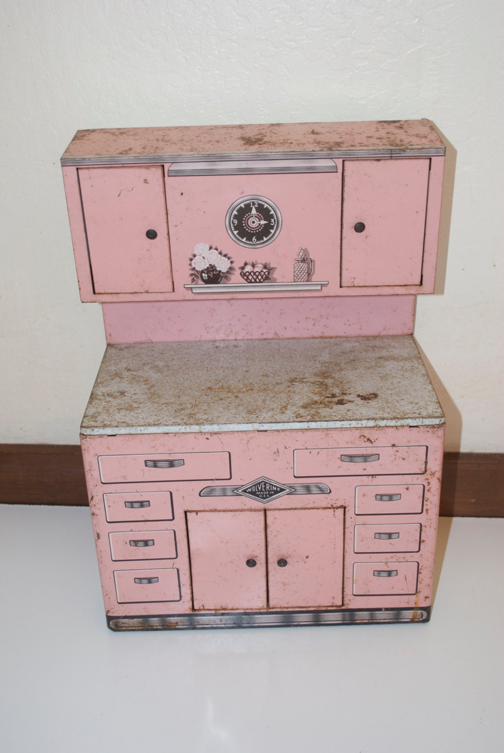 Wolverine Pink Metal Toy Kitchen Hoosier Storage Cabinet Counter