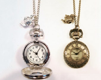 Alice in Wonderland Teapot Pocket Watch Necklace -Vintage Silver / Gold Clock Jewellery -Kitsch Gift Present - Bronze Charm- Long Necklace