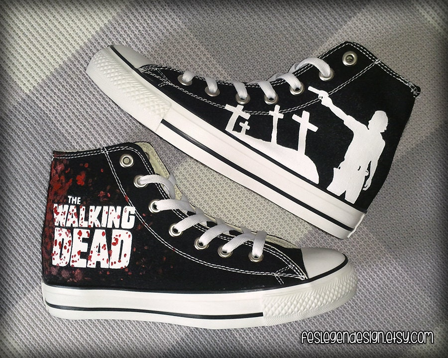 the walking dead custom converse painted shoes by