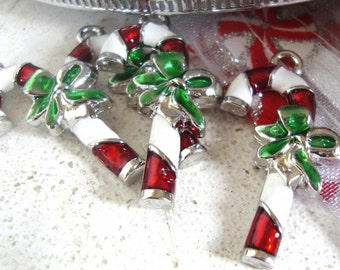 Christmas charm, Christmas Candy cane charm,Christmas jewelry charm, small tree decoration