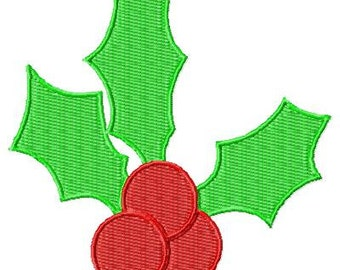 Machine Embroidery Holly Set Design