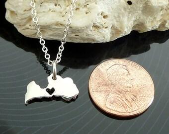 Tiny Sterling Silver Latvia Necklace / Custom Heart / Small Latvia Necklace / Love Latvia / Country Necklace