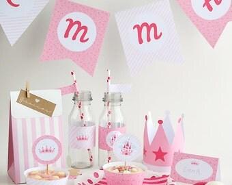 DIY Printable Princess party decoration - Instant download