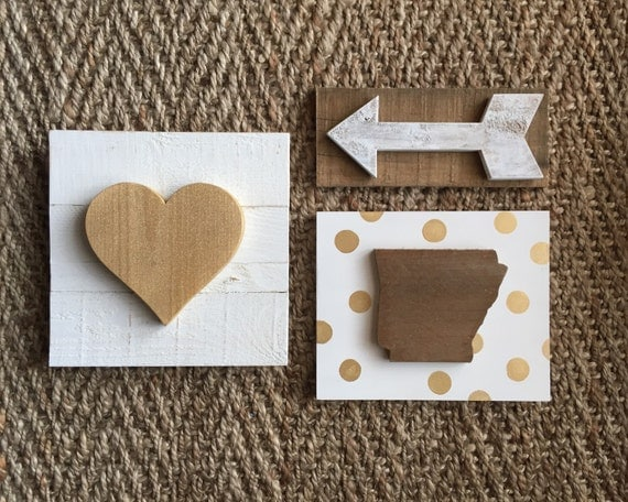 State Sign Collection ~ Choose Your State! Includes: State Love Sign, Wooden Arrow and Heart Sign ~ Gold & White