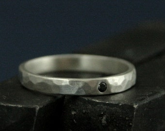 Black Diamond Ring--2.5mm Wide Perfect Hammered Band--Flat Set Black Diamond Band--Solid Sterling Silver Wedding Band--Hammered Wedding Ring