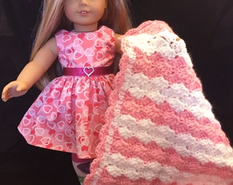Pretty Crocheted Doll Blanket in Pink and White