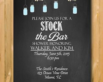 Stock the Bar Invite, Chalkboard Stock the bar invite, Couples shower Invite, DIY, Printable invite