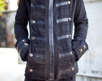MENS JACKET-  Black Jacket, Steampunk, Pirate Jacket,  Burning Man, Victorian,  Festival Jacket,  Buckaneer Jacket,