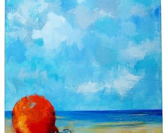 Coquille de mer peinture abstrait toile par for Peinture murale acrylique
