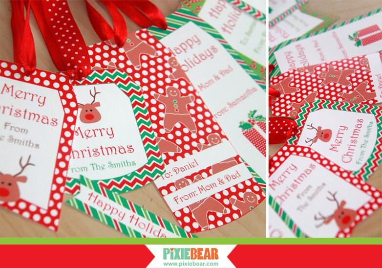 Christmas gift tags holiday tags editable christmas tags for Free printable editable christmas gift tags