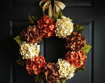 Hydrangea Door Wreath | Fall Wreath | Wreaths for Door | Front Porch Decor | Front Door Wreaths | Summer Wreath | Outdoor Wreaths