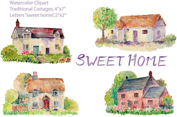 Cottage Clip Art Watercolor Traditional Cottages Watercolour Old House Instant Download From CornerCroft On Etsy Studio