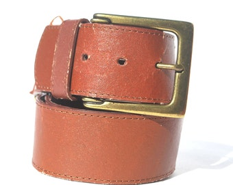 Vintage 80s Express Tan Brown Wide Leather Belt with Gold Brass Bronze Square Buckle