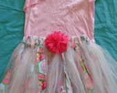 Strawberry Shortcake Fabric Rag Skirt/Tutu  Ready to ship in size 7 - 8
