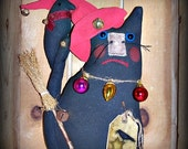 Primitive Folk Art Whimsy Christmas Black Cat Crow Doll