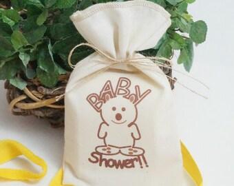 Muslin Favor Bag, Baby Shower Bear, Fabric Bag, 5 x 8, Baby Shower Favor Bag