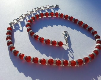 "Carnelian and Stirling Silver Necklace. Adjustable from 15"" to 18"""