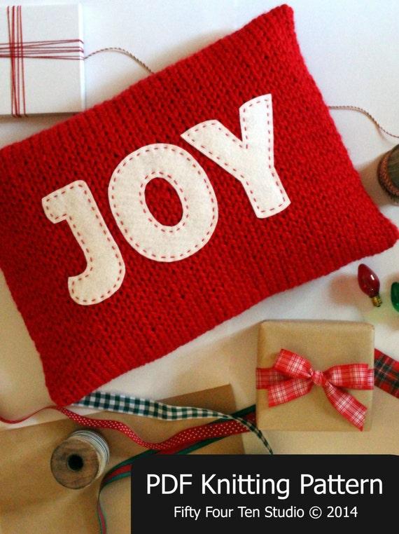 Knitting Pattern Christmas Cushion : Christmas KNITTING PATTERN / Pillow / Joy / Believe / Cushion