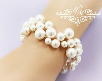 Wedding Jewelry Messy style Swarovski Pearl Swarovski Crystal Bracelet Bridal Bracelet Bridal Jewelry - GRACE