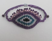 Evil eye macrame bracelet with eyelashes,Adjustable,Large eye,All seeing devil's protection,Ethnic handmade waxed fiber friendship jewelry