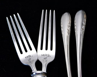 Stamped Fork Vintage Silverware, Mr Mrs Wedding Fork,  Engagement Gift. Hand Stamped Dinner Forks Gift for Bride, Something Old
