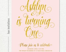 first birthday invitation pink and gold, 1st birthday invitation girl, blush pink gold glitter simple modern girls birthday party invites