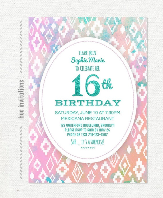 Items Similar To Th Birthday Invitation For Girls Tribal - Birthday invitation cards tumblr