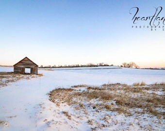 Large Landscape, Iowa Photography, Big Wall Art, Morning Photograph, Extra Large Photo, Sunrise Image, Old Barn Picture, Snowy Winter
