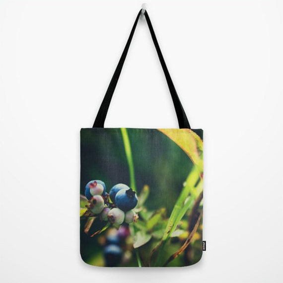 Nature Tote Bag, Blue and Green, Grocery Bag, Wild Blueberries, Boundary Waters, Food Photography, Photo Tote Bag, Large Bag, Small Purse