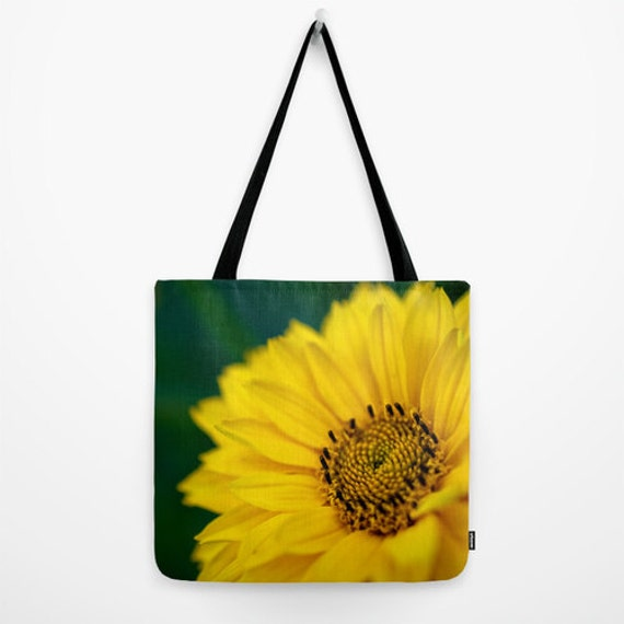 Large Tote, Small Bag, Macro Photography, Green and Yellow, Daisy Flower, Yoga Bag, Large Beach Tote, Big Bag, Women's Purse, Reusable Bag