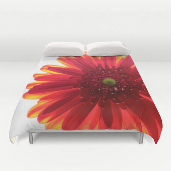 Duvet Cover, Red Yellow White, Daisy Flower, Bedroom Decor, Macro Photography, Photo Bedding, Teen Room, Women's Bedroom, Modern Art Home