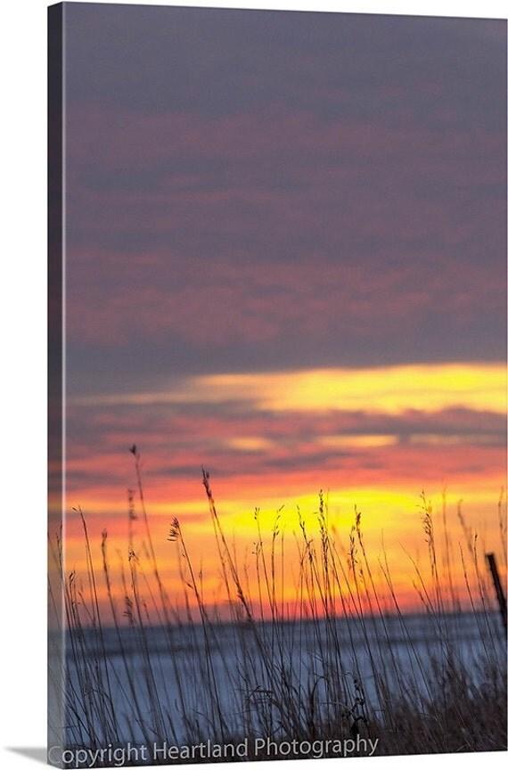 Winter Photo, Sunset Canvas, Colorful Sky, Farm Field, Wild Grass Silhouette, Bright Images, Midwest Nebraska, Snowy Landscape