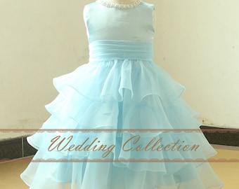Light Blue Flower Girl Dress Layered Tulle Skirt Pleated Waistband