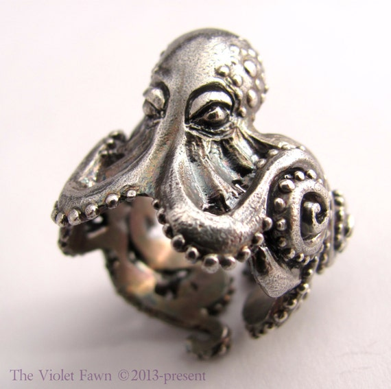 octopus sterling silver ring